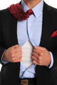 Torso of Businessman Opening Shirt — Stock Photo