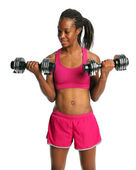 Woman Exercising With Dumbbells — Stockfoto