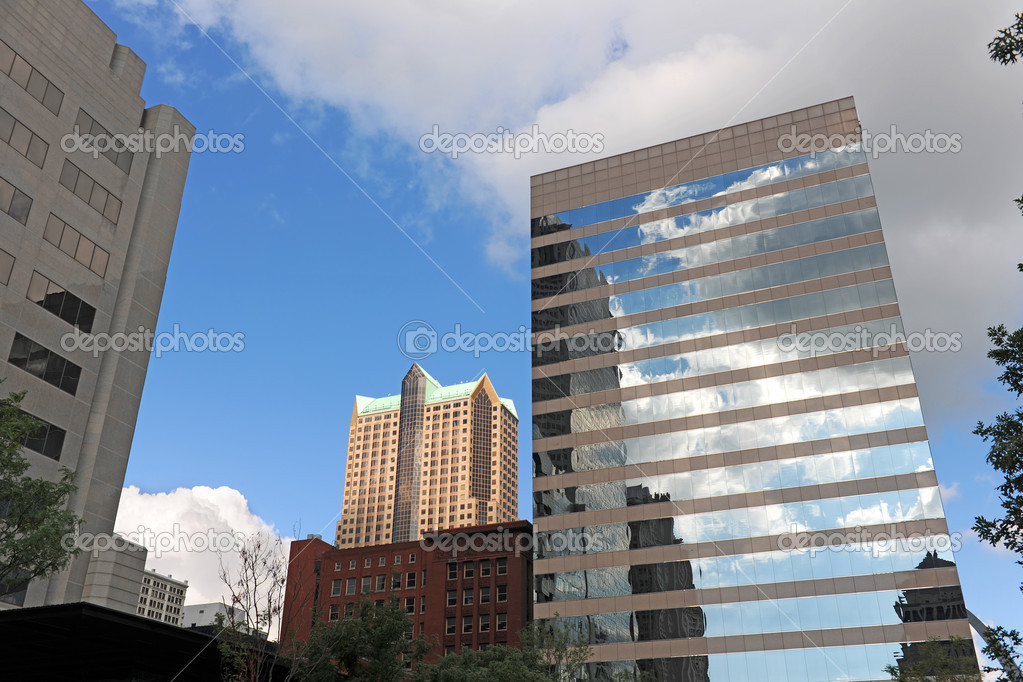 Downtown Saint Louis buildings with arch in the background  Stock Photo #13963301