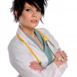 Woman With Lab Coat and Stethoscope — Stock Photo