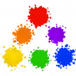 Stock Photo: Primary and Secondary Colors in Paint Splatters