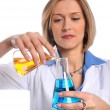 Lab Tech Using Flasks — Photo