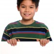 Young Boy Holding Blank Sign — Stock Photo