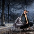 Woman Dancing in the Forest — Stock Photo