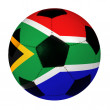 Soccer Ball With South African Flag — Zdjęcie stockowe
