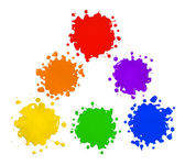 Primary and Secondary Colors in Paint Splatters — Stock Photo