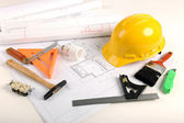 Plans, Hardhat, and Tools — Stock Photo