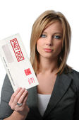 Woman Holding Past Due Envelope — Stock Photo