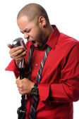 Man singing Into Vintage Microphone — Stock Photo