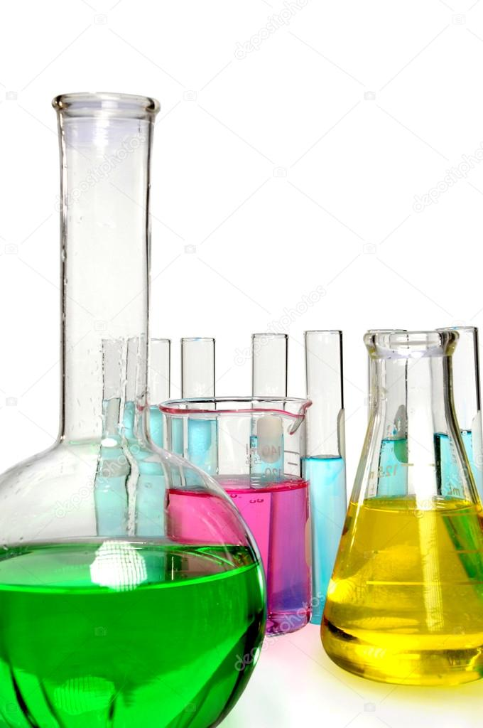 Laboratory chemical glassware isolated on white, stock photo