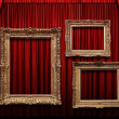 Red Stage Curtain With Gold Frames — Stock Photo #14183595