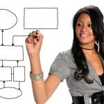 Businesswoman Drawing Chart — Stock Photo #14183906