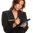 Businesswoman With Pencil and Notepad — Stock Photo #14184300
