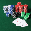 Royalty-Free Stock Photo: Four Aces and Poker Chips