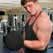 Man Curling Dumbbell at Gym - Foto Stock