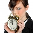 Businesswoman Holfing Alarm Clock — Stock Photo