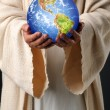Jesus Hands Holding Earth — Stock Photo