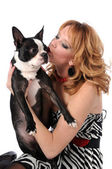Woman Kissing Boston Terrier — Stock Photo