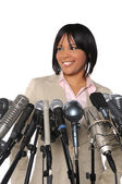 Woman In front of Microphones — Stock Photo