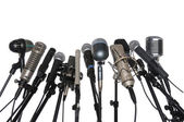 Microphones Over White Background — Stock Photo