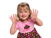 Portrait of Girl Showing Hands — Stock Photo