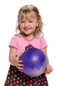 Palla azienda giovane ragazza — Foto Stock