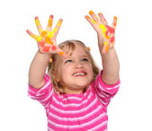 Young Girl With Paint on Hands — Stock Photo
