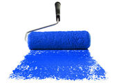 Roller With Blue Paint — Stock Photo