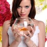 Woman Holding Fish Bowl — Stock Photo