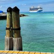 Caribbean Port With Cruise Ship in Background — Stock Photo