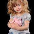 Young Girl Holding Piggy Bank — Stock Photo