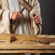 Jesus Hands With Mallet and Chisel — Stock Photo