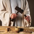 Jesus Hands With Carpenter's Tools - Stok fotoğraf