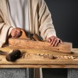 Jesus With Wood Plane - Stock Photo