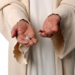 Hands of Jesua Holding Pearl — Stock Photo