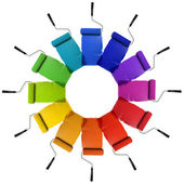 Paint Rollers with Color Wheel Hues — Stock Photo