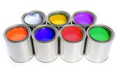 Seven Cans of Paint — Stock Photo