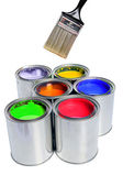 Brush and Cans of Paint — Stock Photo
