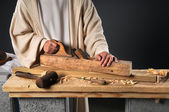 Jesus With Wood Plane — Stock Photo