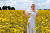 Beautiful Bride In a Field of Flowers — Stock Photo