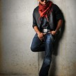 Man With Red Scarf Standing — Stock Photo