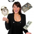 Stock Photo: BusinesswomJuggling Responsibilities