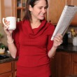 Woman Reading the Paper — Stock Photo