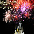 Disney World Magic Kingdom  and Fireworks - Stock Photo