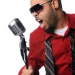 Man Singing Into Vintage Microphone — Stock Photo #14767481