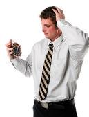 Man Holding an Alarm Clock — Stock Photo