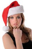 Woman With Santa Hat — Stock Photo