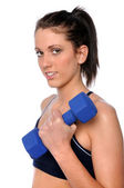 Young Woman Curling Dumbbell — Stock Photo