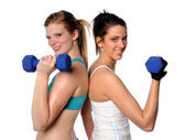 Two Women Exercising With Dumbbells — Stock Photo