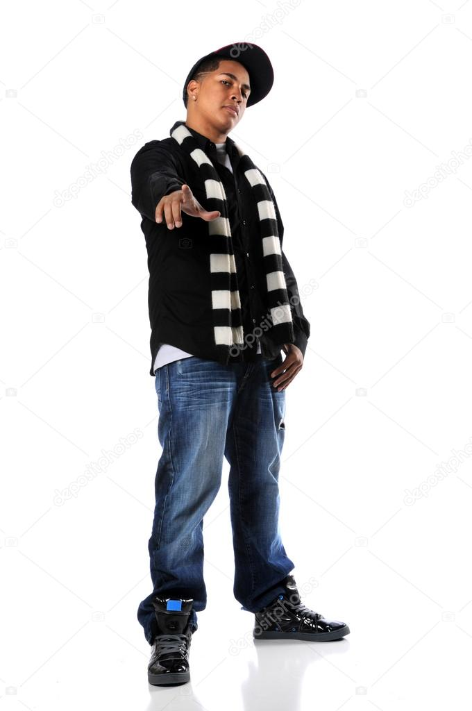 Young African american hip-hop man pointing — Stock Photo #14769619